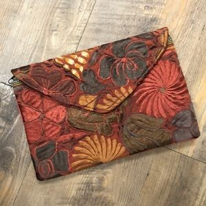 Oversized Clutch Envelope Style Floral Embroidery
